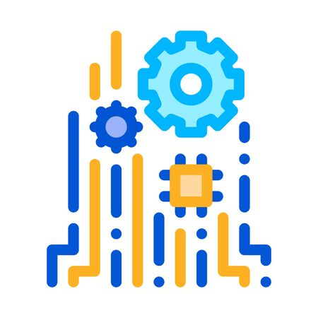Mechanism Chip Icon Vector. Outline Mechanism Chip Sign. Isolated Contour Symbol Illustration