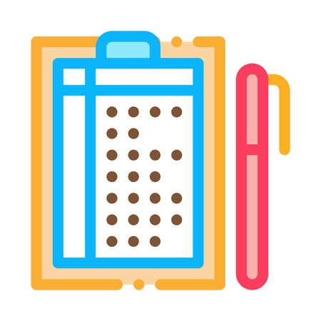 Pen And List Icon Vector. Outline Pen And List Sign. Isolated Contour Symbol Illustration Ilustracja