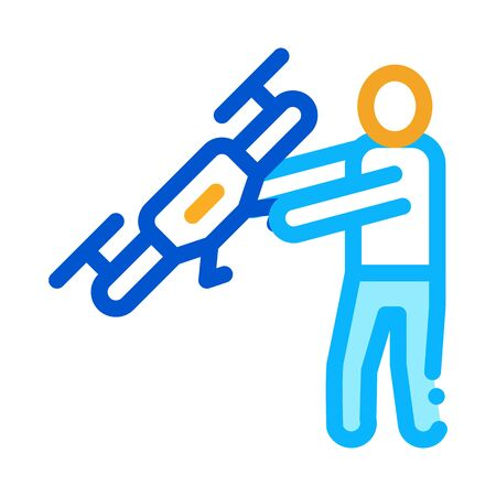 Human Hold Drone Icon Vector. Outline Human Hold Drone Sign. Isolated Contour Symbol Illustration