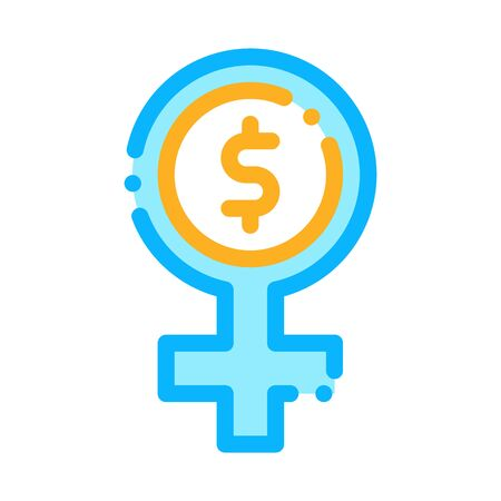 Woman Dollar Mark Icon Vector. Outline Woman Dollar Mark Sign. Isolated Contour Symbol Illustration
