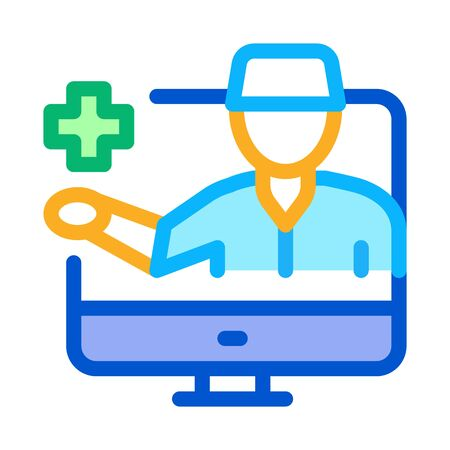 Online Doctor Icon Vector. Outline Online Doctor Sign. Isolated Contour Symbol Illustration