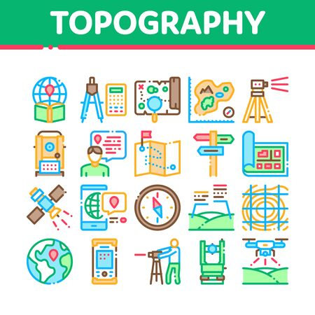 Topography Research Collection Icons Set Vector. Topography Equipment And Device, Compass And Calculator, Satellite And Phone, Drone Concept Linear Pictograms. Color Illustrations