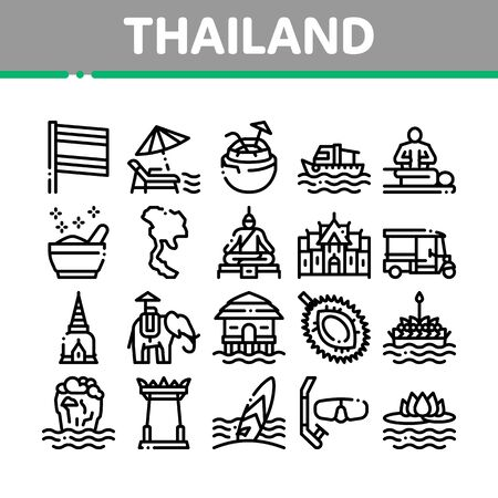 Thailand National Collection Icons Set Vector. Thailand On Geography Map And Flag, Bungalow And Building, Elephant And Tuktuk Concept Linear Pictograms. Monochrome Contour Illustrations Vettoriali