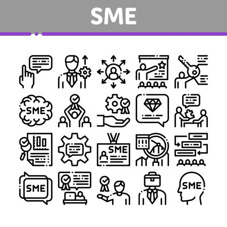 Sme Business Company Collection Icons Set Vector. Sme Small And Medium Enterprise, Communication And Education, Badge And Case Concept Linear Pictograms. Monochrome Contour Illustrations