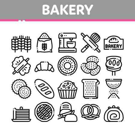 Bakery Tasty Food Collection Icons Set Vector. Bakery Cake And Bread, Pie And Donut, Cookie And Croissant, Wheat And Flour Concept Linear Pictograms. Monochrome Contour Illustrations