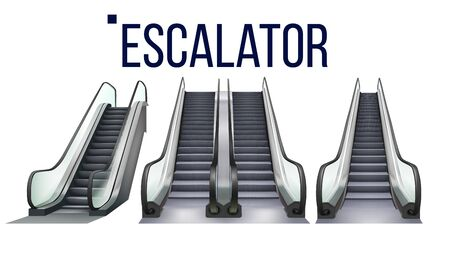 Escalator Stairway Electronic Equipment Set Vector. Collection Of Different Type Escalator For Transportation Human On Next Storey. Moving Ramp Stairs Concept Layout Realistic 3d Illustrations Illusztráció