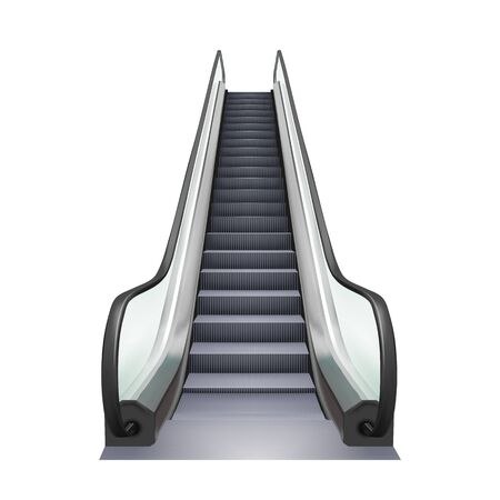 Escalator Business Center Electric Device Vector. Speed Stairway Escalator Shopping Mall Tool For Transportation Human On Next Floor. Moving Ramp Stairs Concept Mockup Realistic 3d Illustration