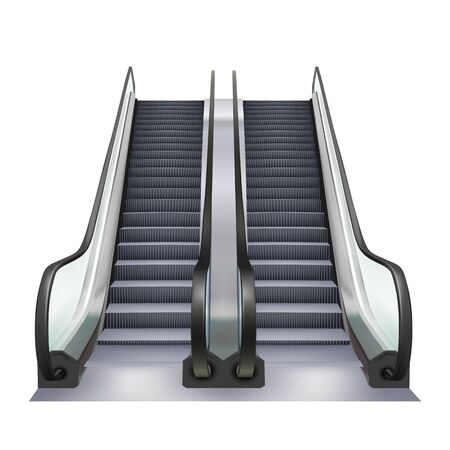 Escalator Two Way Direction Electric Device Vector. Speed Stairway Escalator Subway Tool For Transportation Human In Underground. Moving Ramp Stairs Concept Layout Realistic 3d Illustration Vectores