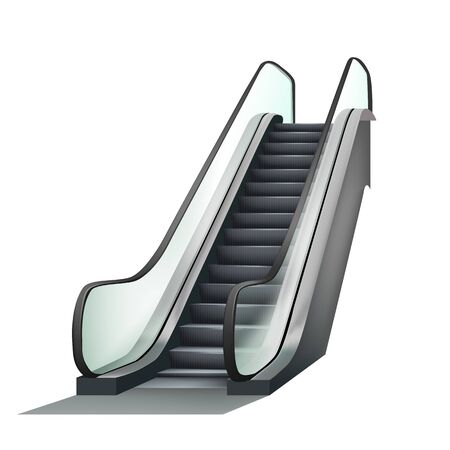 Escalator Airport Electronic Equipment Vector. Speed Stairway Escalator Tool For Transportation Human On Next Floor. Electric Moving Ramp Stairs Concept Template Realistic 3d Illustration