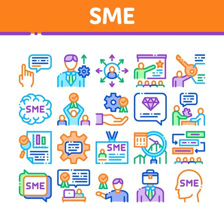 Sme Business Company Collection Icons Set Vector. Sme Small And Medium Enterprise, Communication And Education, Badge And Case Concept Linear Pictograms. Color Illustrations Ilustrace
