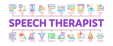 Speech Therapist Help Minimal Infographic Web Banner Vector. Speech Therapist Therapy, Alphabet And Blackboard, Phone And Microphone Illustrations