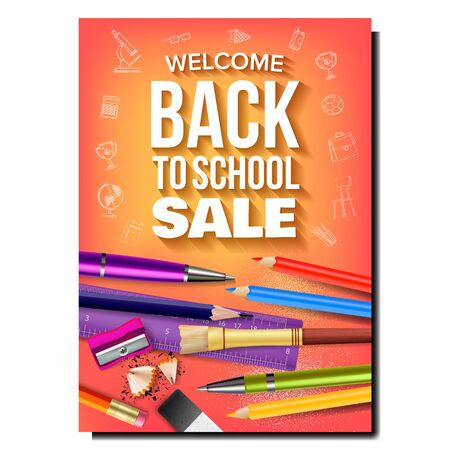 School Sale Tools Shop Advertising Banner Vector. Ruler And Eraser, Pencil Sharpener And Shavings, Pens And Paint Brush For School. Stationery Equipment Concept Template Realistic 3d Illustration Stock Illustratie