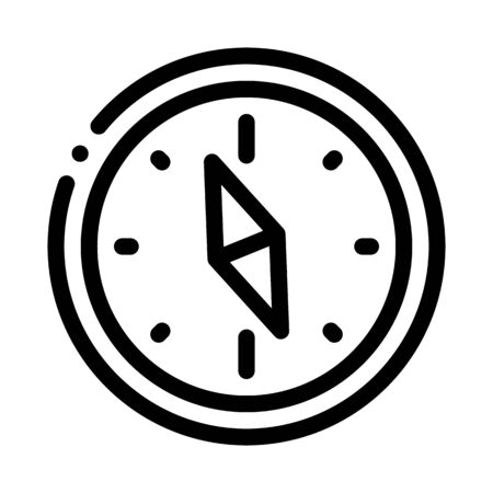 Navigational Compass Tool Icon Thin Line Vector. Compass Searching Way, Direction And Orientation Equipment Concept Linear Pictogram. Monochrome Outline Sign Isolated Contour Symbol Illustration