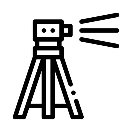 Topography Geodetic Tool Icon Thin Line Vector. Engineer Topography Tripod Equipment For Measuring Concept Linear Pictogram. Monochrome Outline Sign Isolated Contour Symbol Illustration