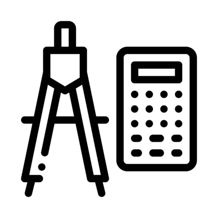 Calculator And Dividers Icon Thin Line Vector. Calculator And Compass Engineering Equipment For Measuring Concept Linear Pictogram. Monochrome Outline Sign Isolated Contour Symbol Illustration