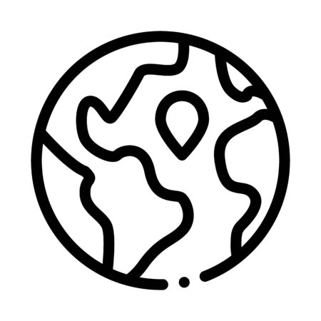 Earth Planet Topography Icon Thin Line Vector. Planet Globe, Sphere With Continents And Ocean, Geography Mockup Concept Linear Pictogram. Monochrome Outline Sign Isolated Contour Symbol Illustration