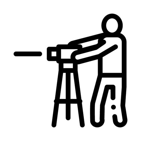 Worker Measuring Landscape Icon Thin Line Vector. Engineer Human With Topography Measuring Equipment Concept Linear Pictogram. Monochrome Outline Sign Isolated Contour Symbol Illustration