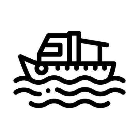 Fishing Boat On Water Wave Icon Thin Line Vector. Motor Boat, Sea Transport, Cruise Motorboat Concept Linear Pictogram. Monochrome Outline Sign Isolated Contour Symbol Illustration