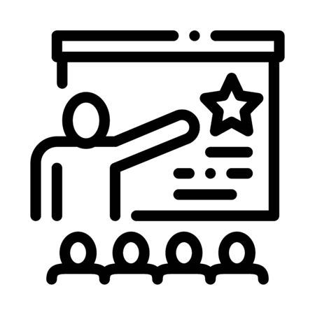 Work Development Training Icon Thin Line Vector. Trainer Pointing On Star On Blackboard, Training For Worker Concept Linear Pictogram. Monochrome Outline Sign Isolated Contour Symbol Illustration
