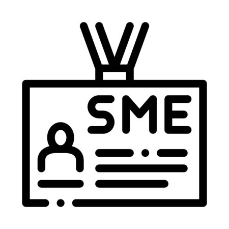 Sme Worker Badge With Photo Icon Thin Line Vector. Company Badge, Pass Document With Employee Information Concept Linear Pictogram. Monochrome Outline Sign Isolated Contour Symbol Illustration Ilustração