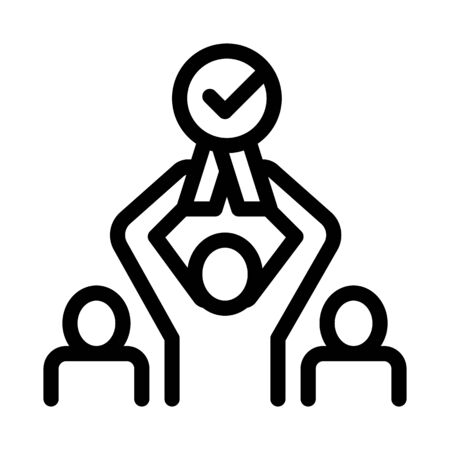 Human Winner Holding Medal Icon Thin Line Vector. Businessman Silhouette Hold Medal With Approved Mark Concept Linear Pictogram. Monochrome Outline Sign Isolated Contour Symbol Illustration Ilustração