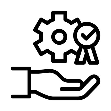Hand Holding Gear And Medal Icon Thin Line Vector. Process For Goal Achievement, Victory Medal And Recognition Concept Linear Pictogram. Monochrome Outline Sign Isolated Contour Symbol Illustration