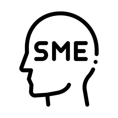Human Head Sme Business Icon Thin Line Vector. Sme Small Medium Enterprise Expert Businessman Profile Concept Linear Pictogram. Monochrome Outline Sign Isolated Contour Symbol Illustration Ilustração
