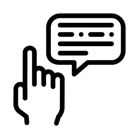 Human Hand Gesture Pointing Icon Thin Line Vector. Gesture And Quote Frame With Text Communication Concept Linear Pictogram. Black And White Outline Sign Isolated Contour Symbol Illustration