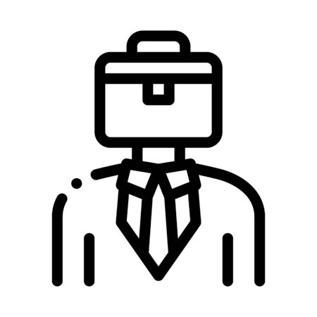 Businessman With Case Head Icon Thin Line Vector. Sme Subject Matter Expert Businessman Human Wearing Suit Concept Linear Pictogram. Monochrome Outline Sign Isolated Contour Symbol Illustration