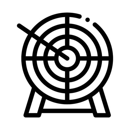 Arrow In Center Of Target Icon Thin Line Vector. Archery Arrow Bullseye Accuracy Wooden Desk Sportive Tools Concept Linear Pictogram. Monochrome Outline Sign Isolated Contour Symbol Illustration