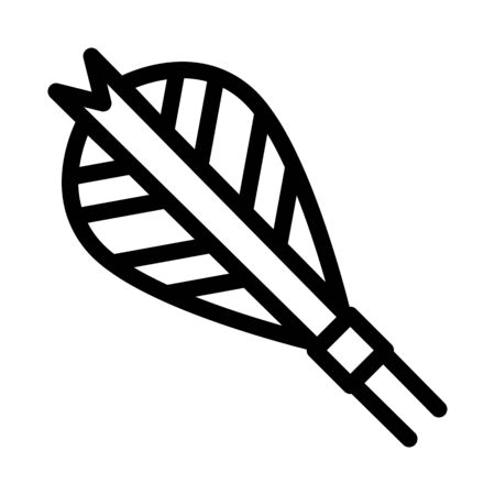 Arrow Feather Plumage Detail Icon Thin Line Vector. Archery Activity Sport Equipment Fletching Arrow Concept Linear Pictogram. Black And White Outline Sign Isolated Contour Symbol Illustration