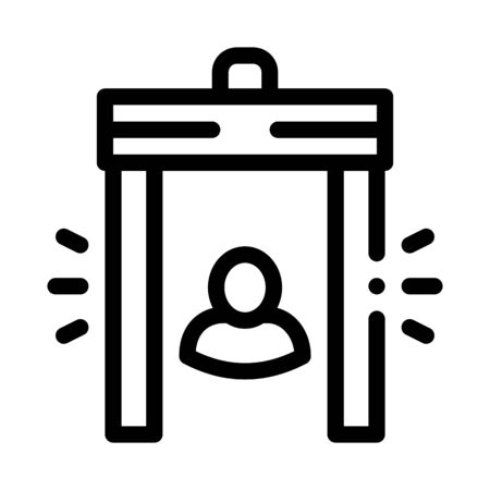 Airport Body Scanner System Icon Thin Line Vector. Airport Metal Detector Door Frame Security Equipment Concept Linear Pictogram. Monochrome Outline Sign Isolated Contour Symbol Illustration