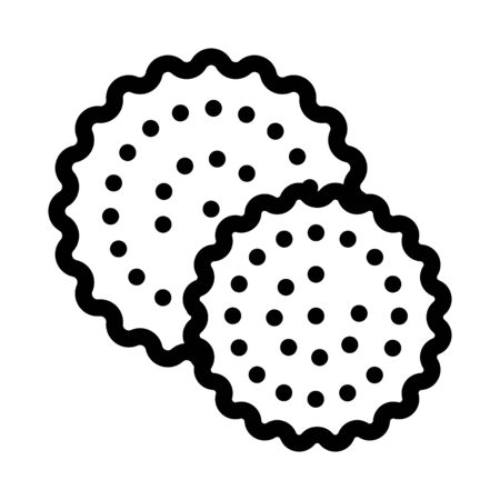 Cookies Breakfast Snack Icon Thin Line Vector. Round Crispy Bakery Cookies Calorie Crunchy Dessert Concept Linear Pictogram. Monochrome Outline Sign Isolated Contour Symbol Illustration Vettoriali