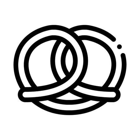 Bakery Pretzel Tasty Food Icon Thin Line Vector. Salty Or Sweet German Traditional Pretzel Delicious Nutrition Concept Linear Pictogram. Monochrome Outline Sign Isolated Contour Symbol Illustration