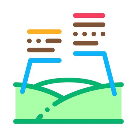 Topography Characteristics Icon Thin Line Vector. Meadow Landscape Topography Knowledge, Geodetic Inspection Color Symbol Illustration