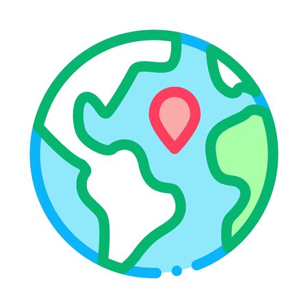 Earth Planet Topography Icon Thin Line Vector. Planet Globe, Sphere With Continents And Ocean, Geography Mockup Color Symbol Illustration