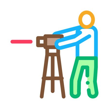 Worker Measuring Landscape Icon Thin Line Vector. Engineer Human With Topography Measuring Equipment Color Symbol Illustration Illustration