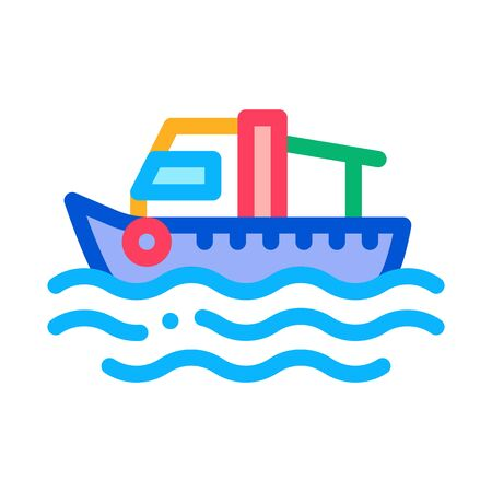 Fishing Boat On Water Wave Icon Thin Line Vector. Motor Boat, Sea Transport, Cruise Motorboat Color Symbol Illustration