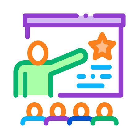 Work Development Training Icon Thin Line Vector. Trainer Pointing On Star On Blackboard, Training For Worker Color Symbol Illustration