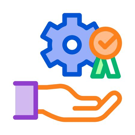 Hand Holding Gear And Medal Icon Thin Line Vector. Process For Goal Achievement, Victory Medal And Recognition Color Symbol Illustration