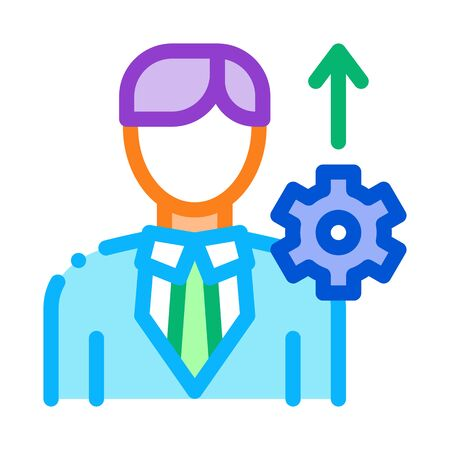 Human Productivity Growth Icon Thin Line Vector. Businessman Silhouette With Growth Arrow And Mechanical Gear Color Symbol Illustration