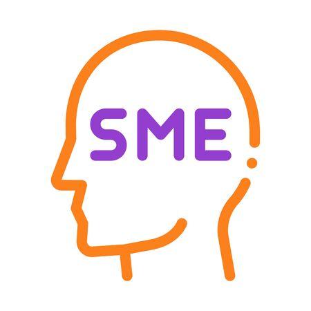 Human Head Sme Business Icon Thin Line Vector. Sme Small Medium Enterprise Expert Businessman Profile Color Symbol Illustration Ilustração