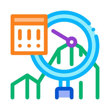 Infographic Peak Research Icon Thin Line Vector. Sme Infographic, Magnifier Glass And Exclamation Marks In Frame Color Symbol Illustration