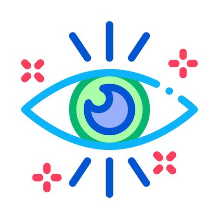 Healthy Human Eye Organ Icon Thin Line Vector. Health Good Looking Eyeball Cornea Concept Linear Pictogram. Ophthalmology Color Symbol Illustration Vektorgrafik