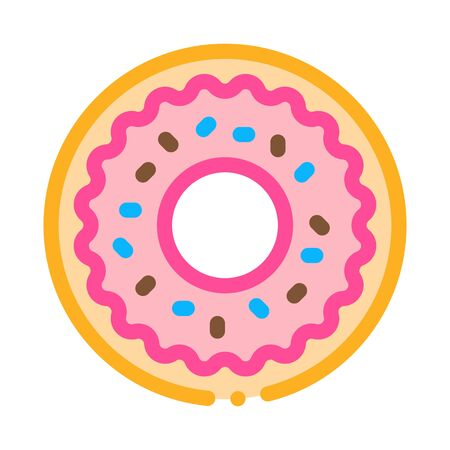 Donut Delicious Baked Snack Icon Thin Line Vector. Donut Glazed Chocolate Or Cream And Candy Sprinkle Color Symbol Illustration