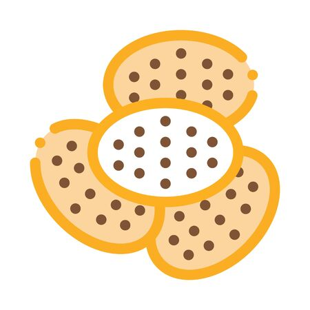 Bakery Cracker Tasty Food Icon Thin Line Vector. Heap Of Cracker Delicious Breakfast Snack Color Symbol Illustration
