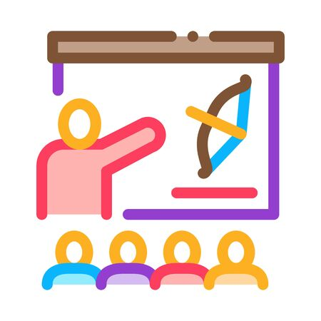 Archery Lesson Education Icon Thin Line Vector. Teacher Pointing On Bow And Arrow Depicted On Blackboard Color Symbol Illustration