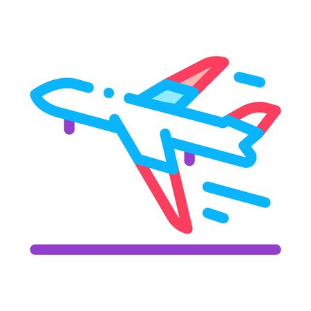Take Off Airplane Airport Icon Thin Line Vector. Passenger Airplane Flying Along Route Concept Linear Pictogram. Air Transport Aircraft Color Symbol Illustration