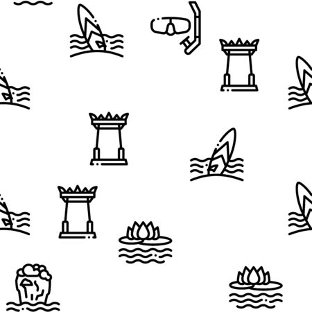 Thailand National Seamless Pattern Vector Thin Line. Illustrations Vettoriali