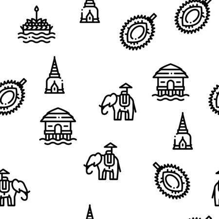 Thailand National Seamless Pattern Vector Thin Line. Illustrations